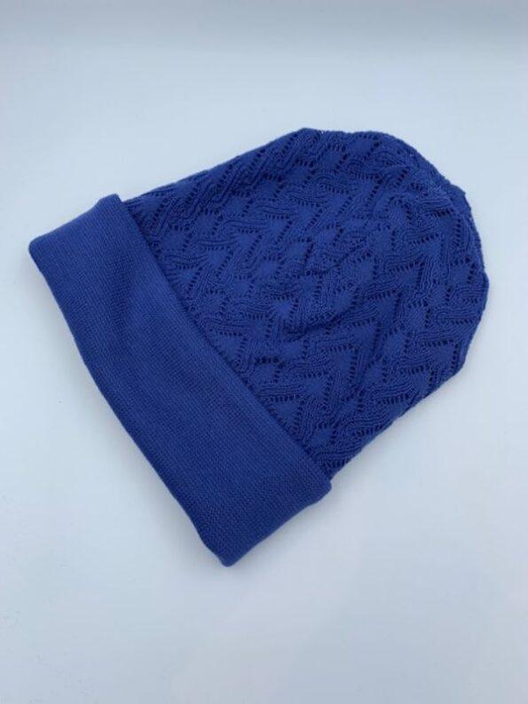 Klar blå hue i merino uld