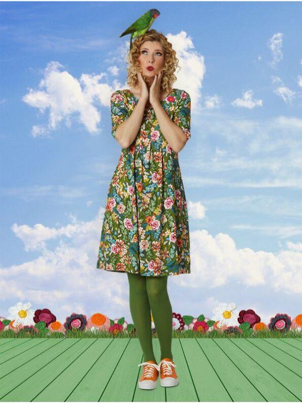 almina kjole med botanisk grønt mønster