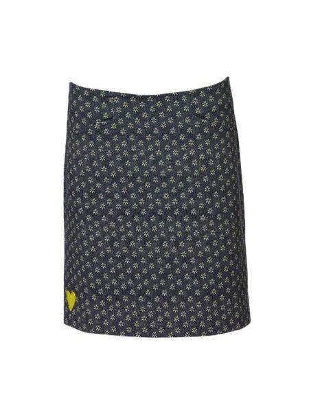 grå/blå nederdel med gul detalje
