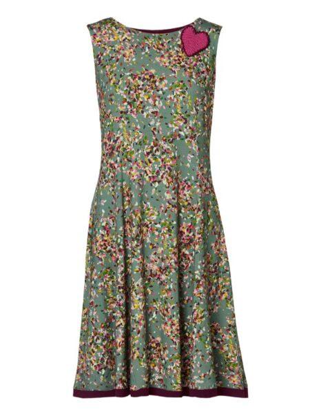 grå/bordeax kjole med flot skørt