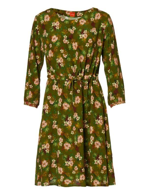 fast viskose kjole med bindebånd i taljen