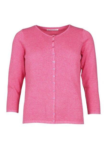 pink strikket bluse med knapper