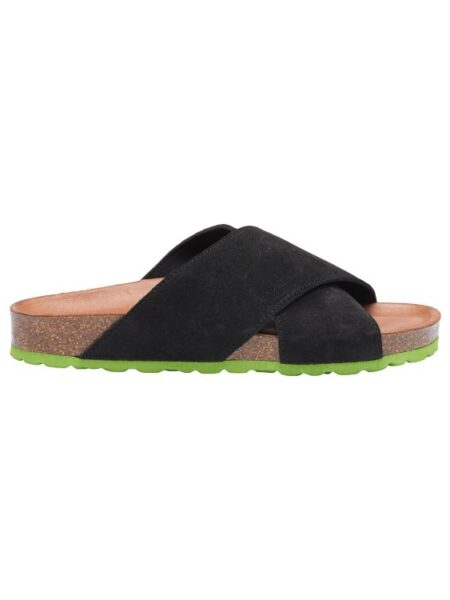 Flad sandal i sort/grøn
