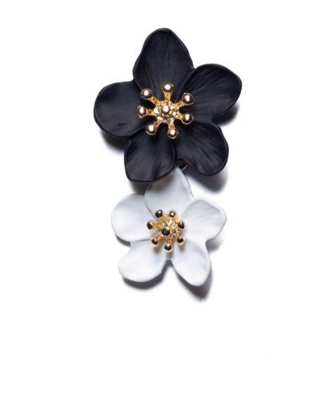 sort/hvide blomsterøreringe