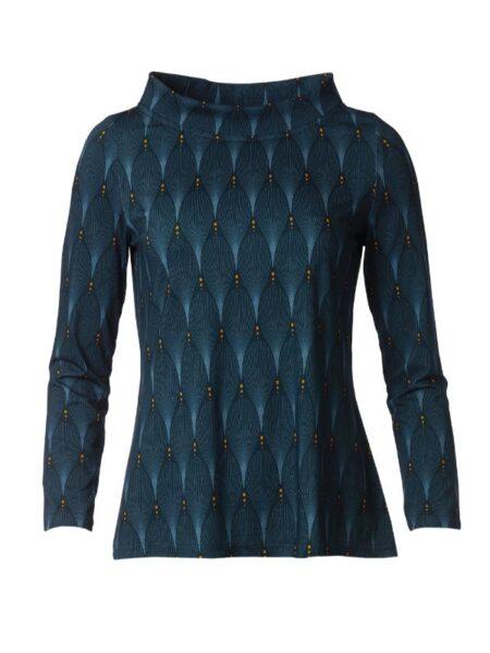 Blå bluse med printet mønster